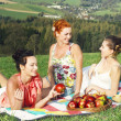 Girls on picnic in mountains — Stock Photo #27048341