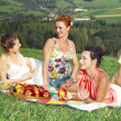 Girls on picnic in mountains — Stock Photo