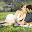 Lovely couple on picnic in mountains — Stock Photo