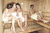 Young in sauna — Stock Photo
