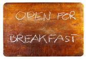 Otevřeno na snídani — Stock fotografie