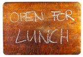 öppet för lunch — Stockfoto