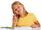 Chica joven de dibujo — Foto de Stock