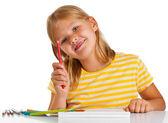 Genç kız çizim — Stok fotoğraf