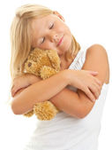 Young girl with teddy bear — 图库照片