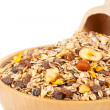 Muesli in bowl with scoop — Stock Photo