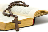 Rosary with holy bible — Stock Photo