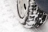 Car on snow road — Stock Photo