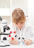 Girl in school lab — Stock Photo