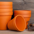 Plant pots and gardening equipment — Stock Photo