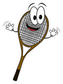 Happy cartoon tennis rack character — Stock Photo