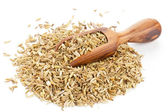 Fennel seed heap with wooden scoop — Stock Photo