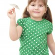 Little girl flys the plane — Stock Photo