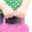 Girls hands cares bag — Stock Photo #18683939