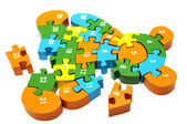 Wooden puzzle bear — Stock Photo
