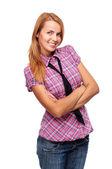 Jonge vrouw permanent en lachend haar handen gevouwen — Stockfoto