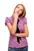 Young woman standing and folded her hands put head on hand — Stock Photo