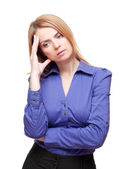 Young woman standing tilt head and has got an headache — Stock Photo