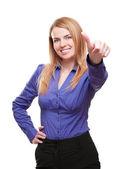 Gelukkig jonge vrouw staande lachende weergegeven: duim omhoog gebaar isol — Stockfoto