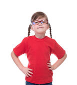 Portret of little cute girl wearing glasses — Stock Photo