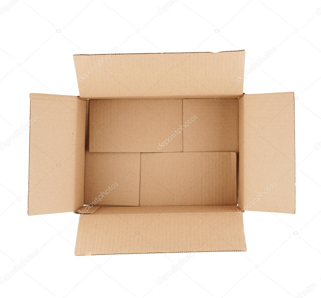 top down view of open empty cardboard box stock photo raysay 22501665. Black Bedroom Furniture Sets. Home Design Ideas