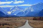 Road to Mount Cook, Southland, New Zealand — Stock Photo
