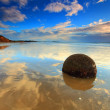 Stock Photo: Sunrise view at Moeraki Boulders, New Zealand
