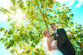 Bride and groom of blue sky — Stock Photo