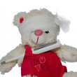 Teddy bear and a thermometer — Stock Photo
