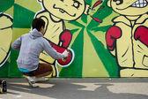 A young graffiti artist — Stock Photo