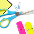 Scissor, Paper Clip, Stikers and Three Highlighter Pens on White — Stock Photo