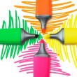 Four Highlighter Pens — Stock Photo
