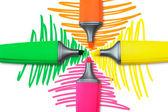 Quatro canetas marca-texto — Foto Stock