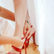 Stock Photo: Red shoes for wedding