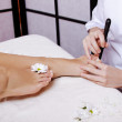 Healthy Legs. Spa. Skincare. Long woman legs and Hands — Stock Photo