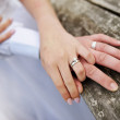 Wreathed hands of lovers — Stock Photo