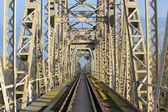 Steel railway bridge — Stockfoto