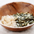 Stock Photo: Flakes of almond and pumpkin seeds