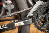 Parts of the drive bike. Gears bicycle crank mechanism — Photo