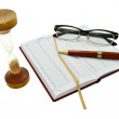 Diary,pen,glasses and sand clock — Stockfoto