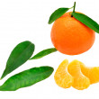Tangerine, slices and leaves — Stockfoto