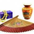 Stock Photo: Chinese fan, vase and a casket with beads