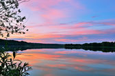 Summer sunset on the lake — Foto Stock