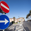 Stock Photo: Road Sign stop Right turn traffic sign