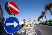 Road Sign stop Right turn traffic sign — Stock Photo