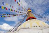 Boudhanath gigante estupa budista en kathmandu nepal himalaya — Foto de Stock