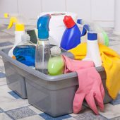 Cleaning bathroom clean kitchen — Stock Photo