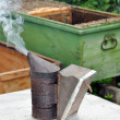 Stock Photo: Apiary. Beekeeper equipment