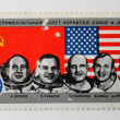 The  Post Stamp with Astronauts of Souz-Apollo — Stock Photo