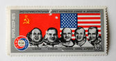 "The Post Stamp with Astronauts of ""Souz-Apollo"" — Zdjęcie stockowe"